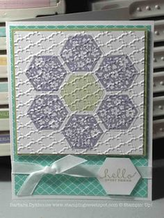 handmade quilt card from Stamping Sweet Spot  ... hexagon quilt flower made of large stamped hexagons ... great embossing folder texture to embed the elements  ...like the soft lavender, green and aqua with white ,,, Stampin' Up!