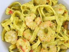 Tagliatelle met garnalen en avocadosaus (pasta vervangen door GV variant)