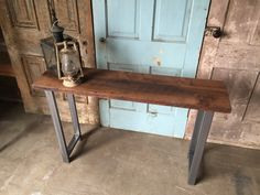 """Reclaimed Wood Console Table / Industrial Entryway Table by  wwmake Height: 30"""" Width: 12"""" Length: 48"""""""