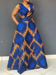 V-Neck Print Sleeveless Pullover Women's Maxi Dress African Fashion Ankara, Latest African Fashion Dresses, African Print Fashion, Short African Dresses, African Print Dresses, Moda Afro, African Attire, The Dress, High Waist
