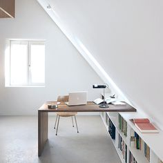 Prodigious Tips: Attic Loft Balconies attic loft drawers.Old Attic Room attic bar slanted ceiling. Attic Apartment, Attic Rooms, Attic Spaces, Small Spaces, Attic Playroom, Attic Library, Attic Office Space, Open Spaces, Attic Loft