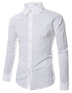TheLees Men's slim fit basic dress Shirt