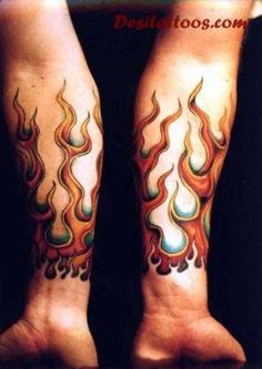 Fire And Flame Tattoo Design For Both Forearm