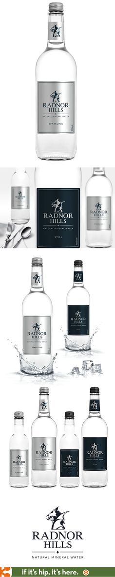 Radnor Hills Sparkling and Still Mineral Water with logo and label designs by Matthew Mills.