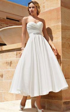 A-Line Sweetheart Pleated Beaded Waistband Button Back Tea-Length Bridal Dresses,Elegant Wedding Dresses,Wedding Dresses