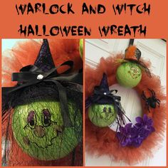 Meet Walter Warlock and Wilma Witch! This Halloween wreath took on its own personality as I was creating it! Halloween Witch Wreath, Create And Craft, Personality, Meet, Craft Ideas, Wreaths, Room, Crafts, Design