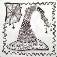 Joey's Weekly Tangle Challenge dared us to create a Zentangle-inspired tangled Witch's Hat using any tangle patterns we felt looked like Halloween. Halloween Doodle, Halloween Quilts, Halloween Coloring, Fall Halloween, Halloween Night, Doodles Zentangles, Zentangle Patterns, Doodle Drawings, Doodle Art
