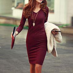 Sexy V-Neck Knit Dress