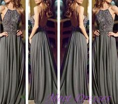 Gray Prom Gown With Straps Beaded Bodice Backless Sexy Fashion Chiffon Grey Prom Dress For Girls - Thumbnail 2