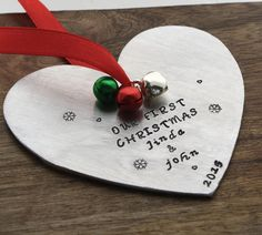Our First Christmas Heart Ornament Christmas Ornament Wedding Gift www.sierrametaldesign.com $33