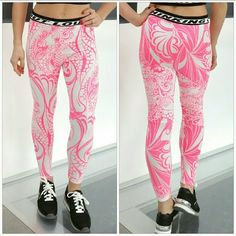 "💋LAST PAIR 💋Sporty Statment leggings! 💋Host Pick💋 Super fun & playful statement leggings. Grab these with your favorite sports bra and get your workout on or get comfortable in these with your comfy oversized sweatershirt!!   Black and white ""OUT LOUD"" waist band.  Color is a bright neon pink, the photo make the pink look reddish.  Size Medium 95%polyester 5%spandex ***Matching sports top it available in Large*** Pants Leggings"