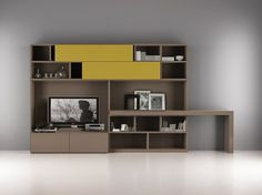 Download the catalogue and request prices of Laltrogiorno 857 By tumidei, lacquered tv wall system with secretary desk, laltrogiorno Collection