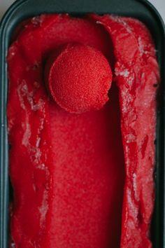 Emma's Strawberry Thai Basil Sorbet — Ice Cream Sunday (Golubka Kitchen) Frozen Desserts, Frozen Treats, Just Desserts, Dessert Recipes, Baking Recipes, Sorbet Ice Cream, Basil Ice Cream, Vegan Ice Cream, Think Food