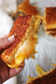 Fancy Schmancy Grilled Cheese - This is seriously the best grilled cheese sandwich you will ever have! Brushed with a garlic, red pepper flake, and thyme infused butter and stuffed with three different cheeses.
