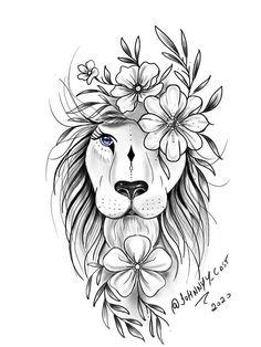 Leo Lion Tattoos, Star Tattoos, Mini Tattoos, Animal Tattoos, Lion Tattoo Sleeves, Sleeve Tattoos, Tatoo Rose, Tropical Flower Tattoos, Mandala Tattoos For Women