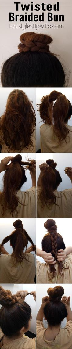 How To Do A Twisted Braided Bun Tutorial – Hairstyles How To - Modern Hairstyles For School, Everyday Hairstyles, Cool Hairstyles, Ponytail Tutorial, Natural Beauty Tips, Plaits, Hair Health, Great Hair, About Hair