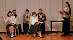 "From CONFESSIONS 2.23.14 7th Grade think tank ""What does bloamy mean?"" [Maria Becvar, Seth Shirley, James Salem, Lily Ali-Oshatz, Jake Russo, Virginia Thomas] Photo: Cindy Boyle Images Last Rites, Extended Family, Late 20th Century, Funeral, Confessions, Catholic, Virginia, Ali, Actors"