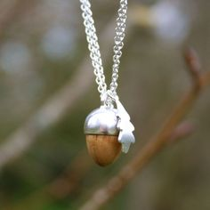 Sterling silver and hand-turned oak Acorn and Leaf pendant