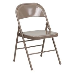 Provide a modern and sleek design to your home by choosing this Flash Furniture Hercules Series Triple Braced and Double Hinged Beige Metal Folding Chair. Fold Up Chairs, Folding Chair Covers, Plastic Folding Chairs, Home Depot, Chairs Online, Beige, Gray, Metal Chairs, Chairs