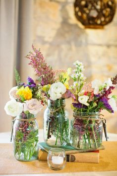 Mason Jar Center Pieces decor diy mason jars Driftwood Wedding at Stonehouse Villa by Akil Bennett Photography Mason Jar Centerpieces, Wedding Centerpieces, Wedding Decorations, Mason Jars, Centerpiece Ideas, Mason Jar Flowers, Simple Centerpieces, Glass Jars, Table Decorations