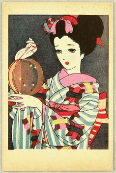 """Junichi Nakahara. 1940. From the series """"Yamato Otome E-Hagaki"""" (""""Postcards of Japanese Maidens""""). A beauty with fireflies in a round insect cage. lithograph"""