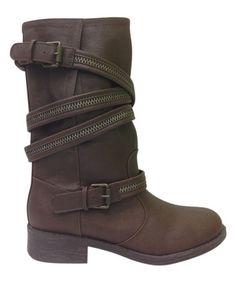 Look at this #zulilyfind! Brown Buckle Wrap Jagger Boot by Bamboo #zulilyfinds $19.99 was $65.00