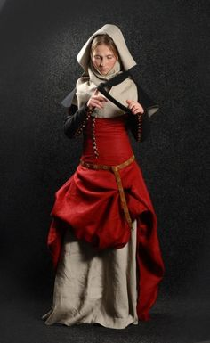 """Medieval dream"" dress with detachable sleeves, flax-linen gorget and wool hood    As most of our costumes this great garb is self-designed, but inspired with and based on original medieval samples and portraiture. This design is most close to Western Europe XIII century style."