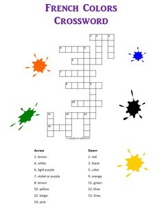 Learn the French words for the different colors with our free, printable crossword and find lots of other puzzles for French students. Free French Lessons, French Language Lessons, French Language Learning, Spanish Lessons, Spanish Language, Language Study, Dual Language, German Language, French Flashcards
