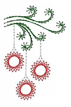 Swirl Christmas Ornaments Paper Embroidery Pattern for Greeting Cards by Darse
