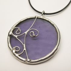 Dancing Violet - Stained Glass Pendant with Black Cord by faerieglass on Etsy