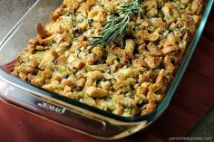 Traditional Herb Stuffing is very easy to make and filled with fresh, flavorful herbs. It'll be a hit on any Thanksgiving table! Vegetarian Thanksgiving, Thanksgiving Side Dishes, Thanksgiving Recipes, Holiday Recipes, Thanksgiving Stuffing, Thanksgiving Leftovers, Holiday Meals, Thanksgiving Holiday, Christmas