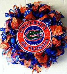 Florida Gators Deco Mesh wreath DDL Designs www.ddldesigns.com