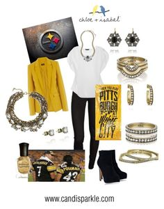 Pittsburg Steelers by magiccloset on Polyvore featuring White House Black Market, Oasis, sass & bide, Timeless, Chloe + Isabel and Deborah Lippmann