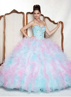Ball-Gown Strapless Sweetheart Floor-Length Organza Quinceanera Dress With Beading