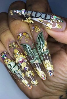 Give style to your nails with the help of nail art designs. Worn by fashion-forward stars, these kinds of nail designs will incorporate immediate charm to your outfit. Bling Nails, Aycrlic Nails, Dope Nails, Stiletto Nails, Coffin Nails, Weed Nails, Jamberry Nails, Junk Nails, Bling Nail Art