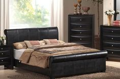 Queen Size Bed with Frame - Black Finish - http://www.furniturendecor.com/queen-size-bed-with-frame-black-finish/ - Related searches: Bedroom Furniture, Beds and Bed Frames, Furniture, Home and Kitchen