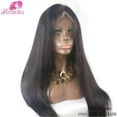 7A Glueless Full Lace Human Hair Wigs Virgin Silky Straight Lace Front Wigs  For Black Women 1316897f01