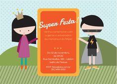 Convite de Aniversário Infantil Neutro - Festa, Princesa e Herói