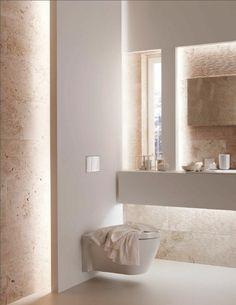 éclairage indirect pour la salle de bain de couleur taupe                                                                                                                                                                                 Plus