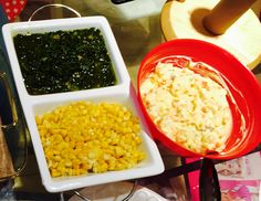 Corn, spinach, potato salad