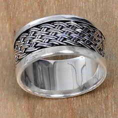 Sterling silver band ring, 'Sukawati Dream Weave' - Artisan Crafted Sterling Silver Band Ring with Woven Motif