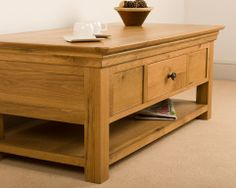 Normandy Oak Coffee Table with Shelf a classic piece with loads of usability http://furnitureimporters.co.uk/Normandy-Oak-Coffee-Table.html