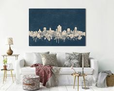 Items similar to SALT LAKE City Canvas Skyline Navy Large Panoramic Wall Art, Ready to Hang, made in USA, Vintage Skyline city print Memory Gift Poster on Etsy Particle Wood, City Print, Stretched Canvas Prints, All The Colors, Canvas Wall Art, Wall Decor, Etsy, Artwork, Usa Cities