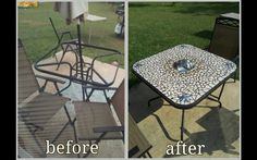 What todo with your broken glass patio table... I pretty much just got a sheet of hardie backer board cut it to size made a hole in the middle for a round bowl(can be used for drinks or chips but can be removed for umbrella in which u can get a budnt cake pan and use the umbrella a place for small drinks.). I did have to straighten out the edges from the bottom to slide the board in then rebend them.