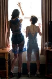 This could be Aggie and Angela looking out the window of their hotel room. (except they're identical, which means they're the same height. Looking Out The Window, Twelfth Night, Peplum Dress, Two Piece Skirt Set, Sexy, Room, Dresses, Fashion, Bedroom