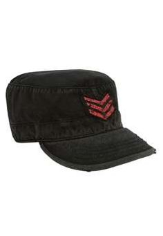Ultra Force Mens Vintage Black Military Fatigue Cap w Stripes | Buy Now at camouflage.ca