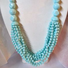 VINTAGE-1980S-BABY-BLUE-MULITSTRAND-PLASTIC-SHAPE-BEADS-NECKLACE-FUNKY