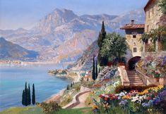 A glamorous painting by Austrian painter Alois Arnegger Lac Como, Landscape Art, Landscape Paintings, Pintura Exterior, Claude Monet, Cityscape Art, Chef D Oeuvre, Mountain Art, Greek Art