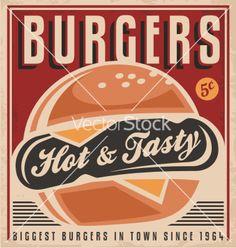 Retro burger poster design vector 1821893 - by Lukeruk on VectorStock®