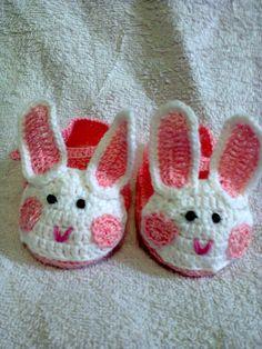 zapatitos conejitos bebe crochet